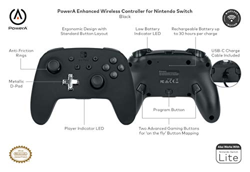 PowerA Enhanced Wireless Controller for Nintendo Switch - Black, Nintendo Switch Lite, Gamepad, Game Controller, Bluetooth Controller