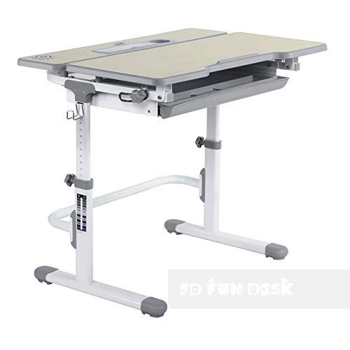 FD FUN DESK Lavoro L Grey Schülerschreibtisch höhenverstellbar, Kinderschreibtisch neigungsverstellbar, Schreibtisch für Kinder, Grau, 794 x 608 x 540-720 mm