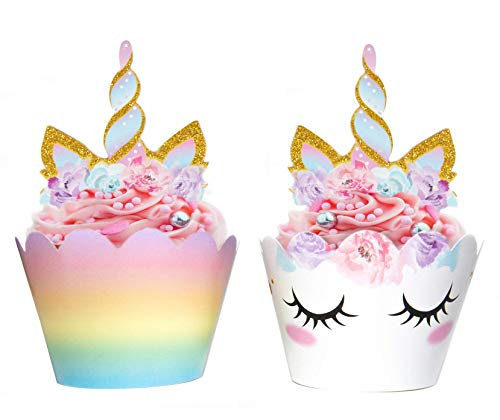 Unicorn Cupcake Decorations, Double Sided Toppers and Wrappers,...
