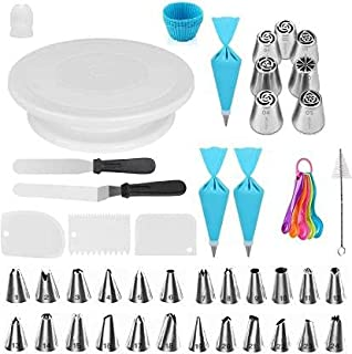 KeepCart Set of 60,1 Turntable stand-24 Numbered Icing Tips with Pattern Chart,Cake Decorating Supplies Kit for Beginners,...