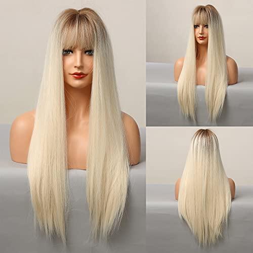 HAIRCUBE longue perruque droite, perruques synthétiques pour femmes perruques en or blanc naturel avec frange perruques résistantes à la chaleur Cosplay Party
