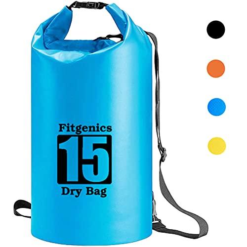 Fitgenics Dry Bag Trockensack wasserdichte Trockentasche wasserfest strandsafe Beutel für Kajak Boot Angeln Rafting Wassersport Camping Snowboarden Wandern Kanu Tauchen Segeln Surfen (Blau, 15L)