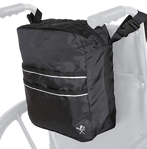 Pembrook Wheelchair Mobility Tote Bag - Travel Accessories Storage Side or Back Bag - Fits Most Walker, Scooter, Seat/Chair, Rollator or Electric Wheelchairs - for Seniors, Elderly & Medical Nurses