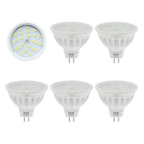 Aiwode Bombillas MR16 LED Gu5.3 Reflector,Blanco Frío 6000K,5W Equivalente 50W,600LM RA85,No Regulable DC 12V,5 Piezas.