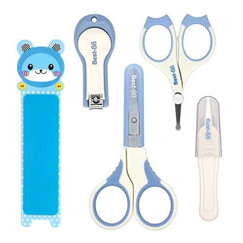 H HOMEWINS 5-teiliges Baby Nagelpflege Set mit 2 Baby Nagelschere, Nagelknipser, Nagelfeile, Pinzette, Sicherheit Pflegeset für Babys Kinder (Blau)