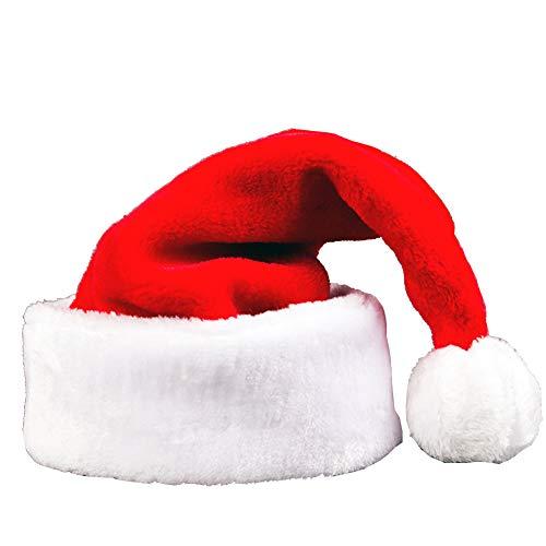 YULOONG Weihnachtsmütze für Erwachsene und Kinder, Weihnachtsmütze aus Samt mit Plüschbesatz und Comfort Liner Unisex, Rot, S