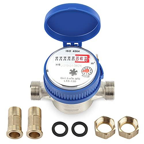 Wasserdurchflussmesser, 1.5m3 / h 0-40 Kalt-Wasserzähler, 5mm 1/2 Zoll Haus Wasserzähler, aus Kupfer