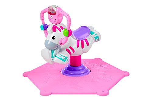 Fisher-Price R4341 Hipp Hopp Zebra kippen- en schommeldier met melodieën en geluiden, vanaf 12 maanden, roze