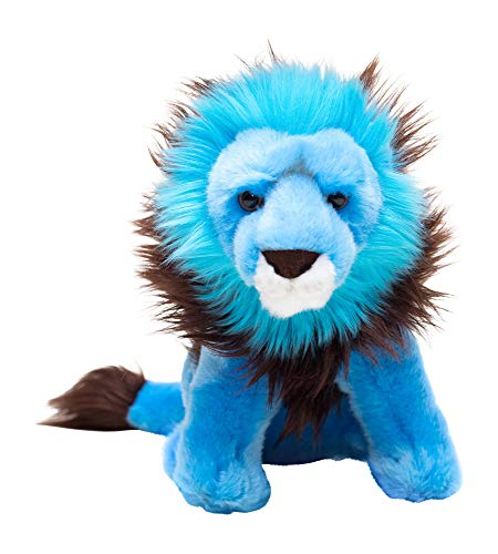 Edgewood Toys 16 Inch Blue Neon Lion Stuffed Animal – Spectacular Lion Plush with Rare Black Mane – Realistic Looking Ultra Soft Luxury Plush – Great for Gifts, Classrooms, Zoo Trips – Ages 3+