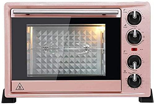 ZJDM Mini Horno de 36L con Ajuste de Temperatura 100-250 ℃ y Temporizador de 0-60 Minutos, Horno con Puerta de Vidrio de Tres Capas de 1500 W Oro Rosa