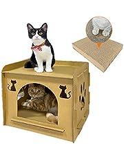 猫ハウス 爪とぎダンボール 猫用爪とぎ キャットハウス キャットタワー ダンボールハウス 爪とぎ兼ベッド 猫箱 キャットハウス