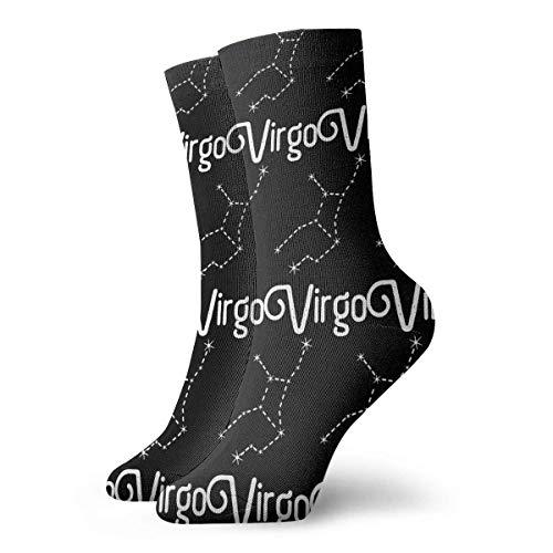JONINOT Signos de astrologa del zodiaco Virgo Calcetines de algodn informales deportivos esenciales para hombres Calcetines W8.5CM X L30CM