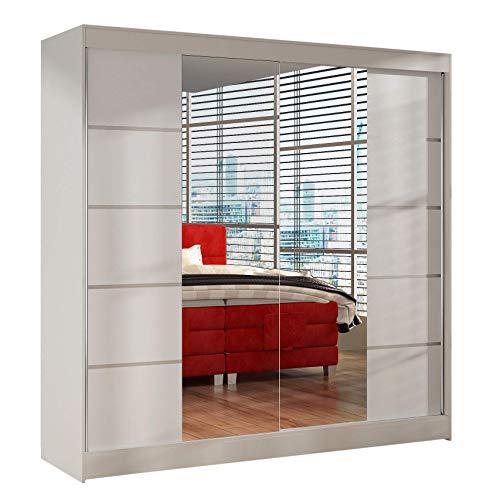 Schwebetürenschrank Basti V 200 cm mit Spiegel - Kleiderschrank mit 2 Türen, Kleiderstange und Einlegeboden, Schlafzimmerschrank, Schiebetürenschrank 200x215x58 cm (Weiß)