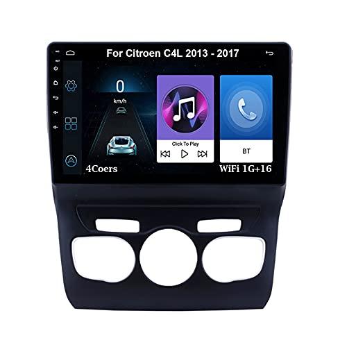 Autoradio Android Car Radio Stereo 9 Pulgadas Pantalla Táctil Para Citroen C4L 2013-2017 Conecta Y Reproduce Cámara De Respaldo Estéreo De Coche Auto Dvd Player (Color : 4Cores WiFi 1G16G)