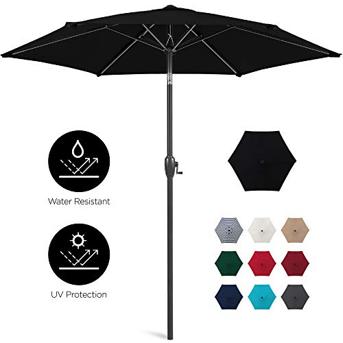 Best Choice Products 7.5ft Heavy-Duty Outdoor Market Patio Umbrella w/Push Button Tilt, Easy Crank Lift, Burgundy