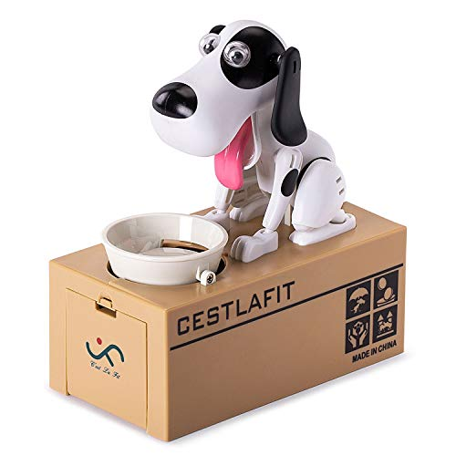 Cestlafit Cute Choken Bako Cachorro Hambriento Comiendo Perro Coin Bank , Huchas Infantiles, Huchas Originales, Coin Munching Toy Money Box