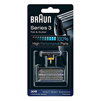 Braun electric shaver replacement shaving part, compatible with Series 3 shaving foil and blade block 30B, Black