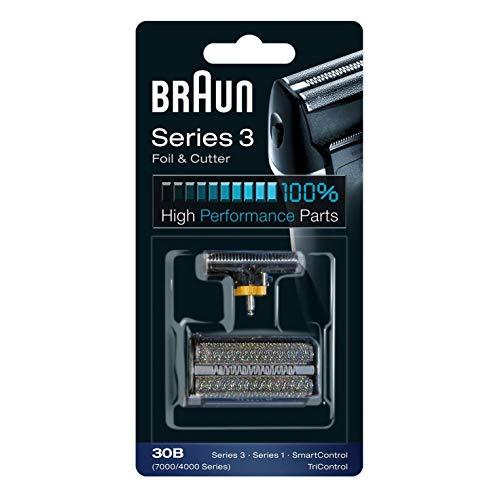 Braun Elektrorasierer Ersatzscherteil, kompatibel mit Series 3 Scherfolie und Klingenblock 30B, schwarz