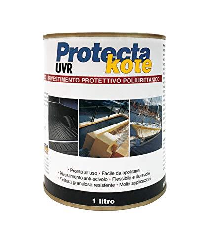 Protectakote UVR nero grana grossa 1L (copertura con 2 mani:1,5-2,5 mq)rivestimento protettivo impermeabilizzante poliuretanico monocomponente,Antigraffio ed Antiscivolo,per Proteggere veicoli&camper.