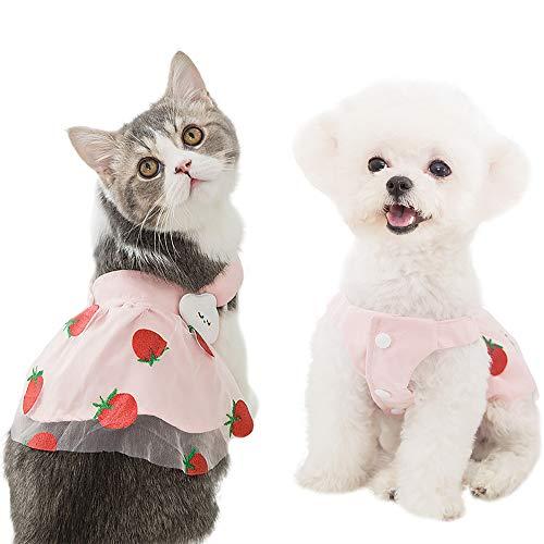 IDOMIK Dog Dress Puppy Lace Wedding Dress Cat Princess Flower Skirt Pet Shirt Strawberry Tutu Dress Kittens Vest Outfits Clothes Apparel for Small Medium Dogs Cats Weddings Holidays Travelling