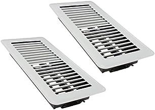 "Rocky Mountain Goods 4"" x 10"" Floor Vents 2 Pack - Heavy Duty Walkable floor register - Premium Finish - Easy adjust air supply lever (White)"