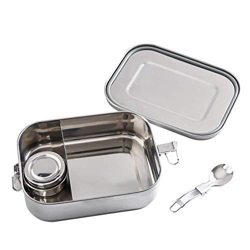 Boîte à lunch for les enfants adultes, 1400ml étanche en acier inoxydable Bento, Bento Box avec 2 compartiment salade Sandwich alimentaire contenants en métal, avec amovible Comprtment Diviseur, Lave-