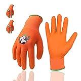Guantes de jardinería para niños, 3 pares de guantes de jardín para niños con palma recubierta de goma para niños de 2 a 13 años (talla 3 (edad 5 a 6 años), naranja 3 pares)