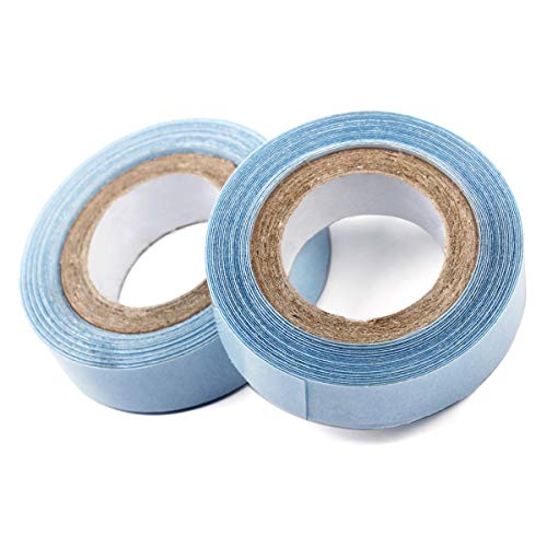 1.27 cm x 3 Yards Hair Replacement Strong Adhesive Lace Front Wig Hair Support Tape, Double-Sided Water-Proof Invisible Tape 2 Rolls Per Pack for Wigs/Toupees/Skin Weft Hair Extensions (Blue Color)