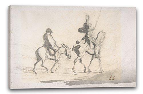 Printed Paintings Impresión sobre Lienzo (80x60cm): Honoré Daumier - Don Quijote y Sancho Panza