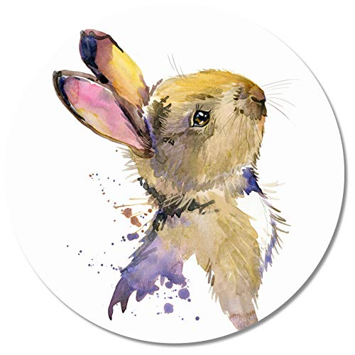 Britimes Round Mouse Pad, Cute Rabbit for Kid Premium-Textured Mouse Mat, Small Non-Slip Rubber Base Round Mousepad with Designs for Working and Gaming