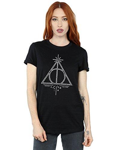 HARRY POTTER Mujer Deathly Hallows Symbol Camiseta del Novio Fit Medium Negro