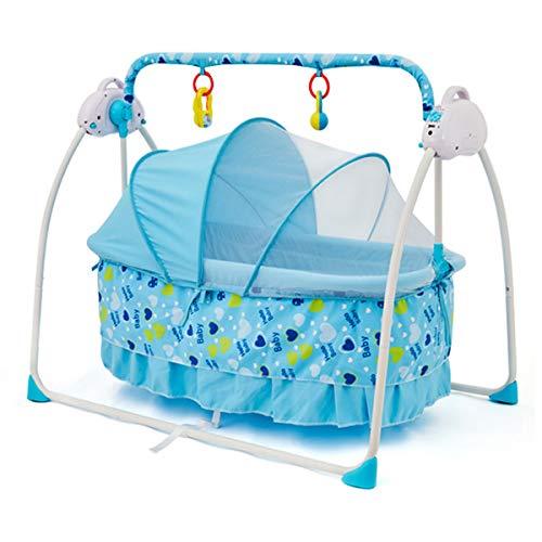 MOZX Elektrische Babyschaukel, Babywippe Elektrisch, Bluetooth-Verbindung, 3 Arten Von Zeit, 5 Geschwindigkeit Einstellbar, Automatische Baby Wiege Für Neugeborene Im Alter Von 0-24 Monaten,6