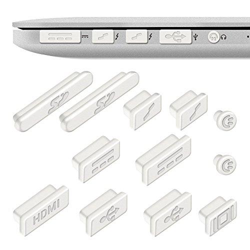 REY 12x Tapones Anti-Polvo para Apple MacBook Pro 13' 15' Retina/Air 11' 13', Protector de Puertos en Blanco