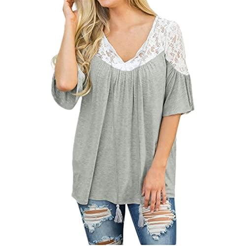 Camiseta Mujer Moda Verano Cómodo Cuello Redondo Empalme Mujer T-Shirt Exquisito Cuello De Encaje Mangas Medias Diseño Ocio Diario Suelta All-Match Mujer Tops B-Gray XL