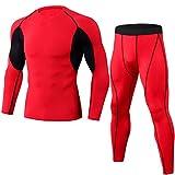 NLZQ Herren Funktionsshirt Kompressions Set Funktionswäsche Sportbekleidung Set Tight Fit Hosen und Rundhals top Color Matching Freizeit Bequemer S