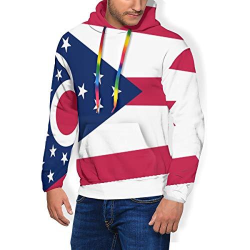 HZamora_H Ohio State Flag2 Men's Thick Hoodie Winter Sweatshirts Classic Long Sleeve Jacket Black