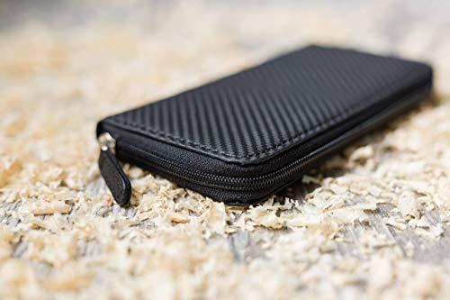 CALEMA BIG MONEY - Handmade Geldbörse, Portemonnaie, Brieftasche, Geldbeutel für Damen aus Carbonleder - Schwarz