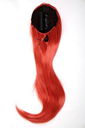 WIG ME UP - Extension volumineuse lisse natte/queue de cheval mini-pince-papillon élastique env. 60 cm mélange rouge WK06-137