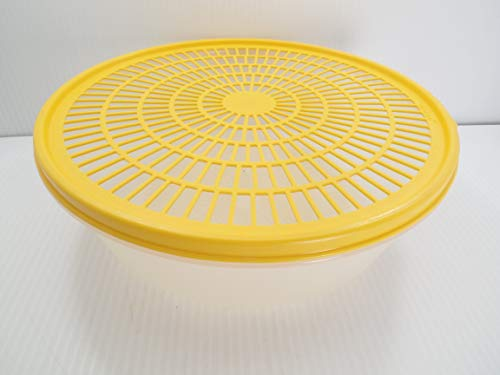 Vintage Tupperware Clear Colander Strainer w/ Yellow Lid