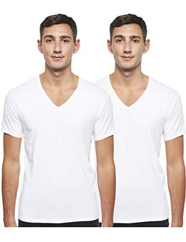 Calvin Klein Herren T-Shirt 2P S/S V NECK, Gr. Large, Weiß (WHITE 100)