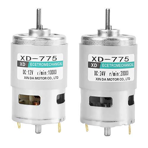 XD-775 12V / 24V Cepillo Motor de Corriente Continua Motor de Alta Velocidad Y Alto Torque Bajo Ruido Doble Rodamiento de Bolas Motor de Engranajes Metálicos(24V 20000RPM)