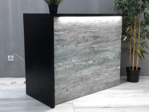 Mesa de Oficina Mostradores para Tiendas o Recepción Mueble Gris Marmoleado con Luz Blanca Frontal