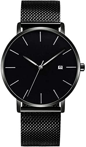 QHG Relojes de Pulsera analógica de Cuarzo Unisex Minimalista Japón Reloj de Malla de Acero Inoxidable de Acero Inoxidable de Acero Inoxidable de Moda Ultrafino