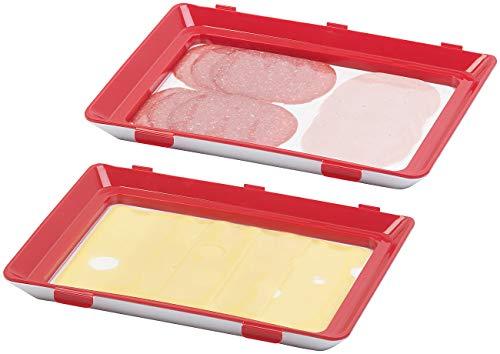 Rosenstein & Söhne Aufschnittdose: 2er-Set Frischhaltedosen für Wurst- und Käse-Aufschnitt (Frischhaltebox)