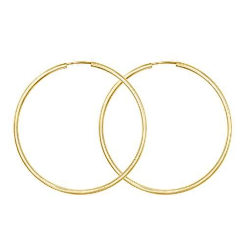 Große 50mm Damen Creolen aus 333 Echt Gold, Ohrringe Gold mit Stempel, Breite 2 mm, Gewicht ca. 1,7 g, Made in Germany