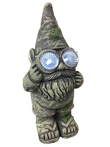 Gnome-a-Palooza Gartenzwerg, antiker Zement, solarbetrieben, mit Lichtern