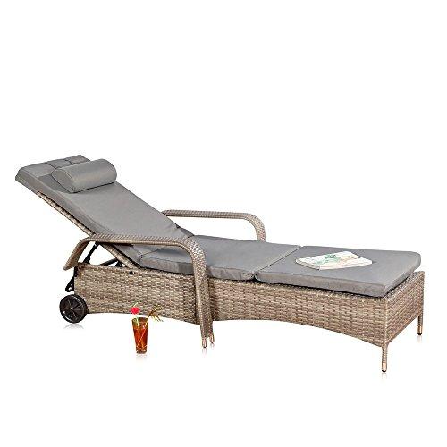 Melko Sonnenliege Rattan Loungeliege Terrassenliege Relaxliege Garten Auflage Loungeliege Outdoor mit Rollen