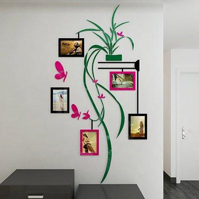 AungAoo Chlorophytum Photo Cadre Photo Acrylique 3D Stéréo Chambre Mur Hall Locataire Enfants Autocollants Papillon Papillon Rose,Branches Vertes Du Bassin Vert Foncé Bonne Version,Grand