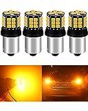 ALOPEE 4-Pack 1056 BAU15S 7507 12496 1156PY PY21W Estremamente Chiaro Ambra/Giallo Non Polarità 2835 39-SMD 9-30V LED Luci di Ricambio per Indicatori di Direzione Lampadina Lampeggiante