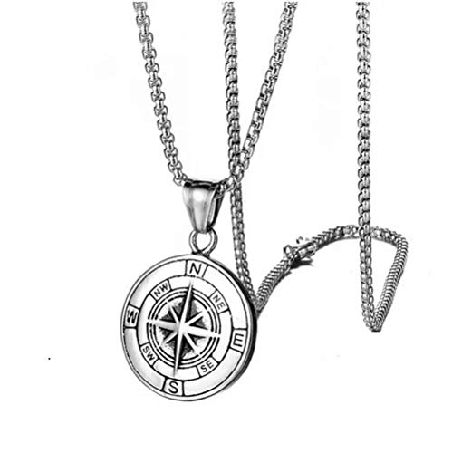 Unisex Vintage Style Compass Navigator Pendant Necklace - Stainless Steel